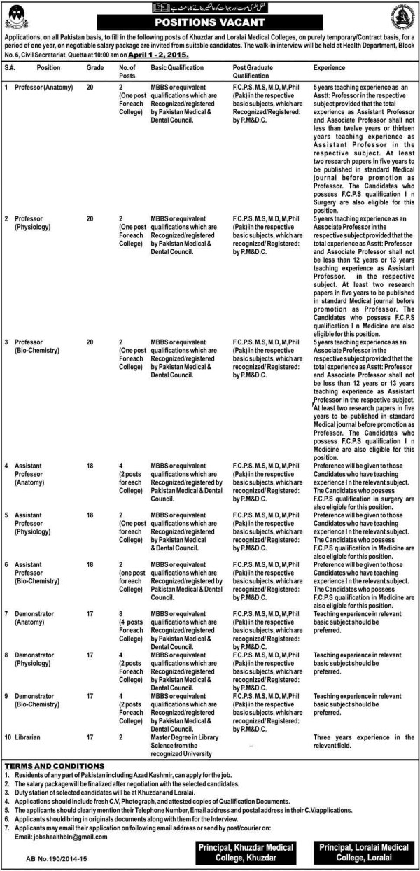 Khuzdar and Loralai Medical College Jobs 2015 Application Form Eligibility Criteria