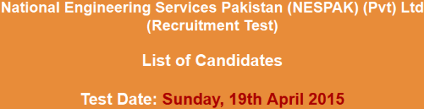 National Engineering Services Pakistan NESPAK Jobs NTS Test Answer Key Result 2015 Roll Number Slips Download
