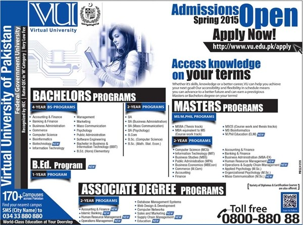 Bachelors and Masters Admission 2017 in VU Virtual University Dates and Schedule