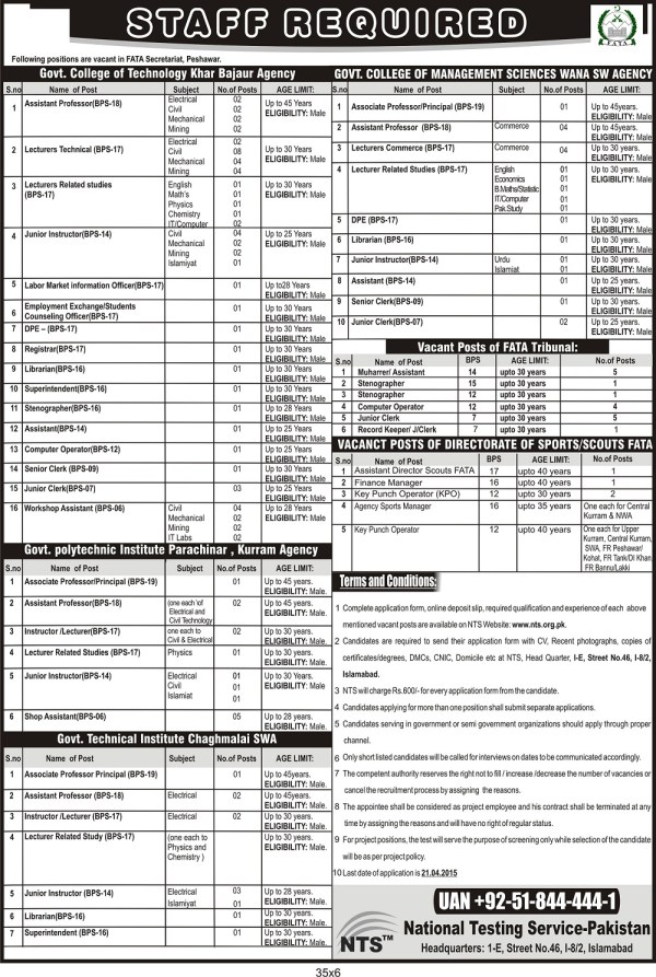FATA Secretariat Peshawar Jobs 2015 NTS Test Application Form Eligibility Criteria Candidates List