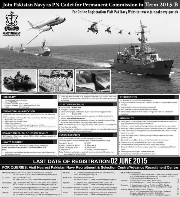Pakistan Navy Jobs 2015-B PN Cadet Permanent Commission Selection Procedure Educational Qualification