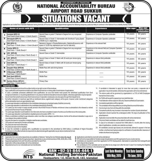 National Accountability Bureau NAB Sukkur Jobs 2021 NTS Test Dates Selected Candidates List Form Eligibility