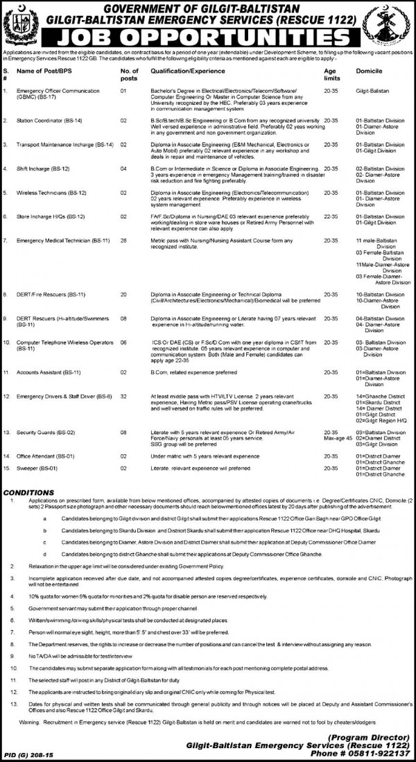Govt Gilgit Baltistan Rescue 1122 Jobs 2015 Written Test & Interviews Dates and Schedule