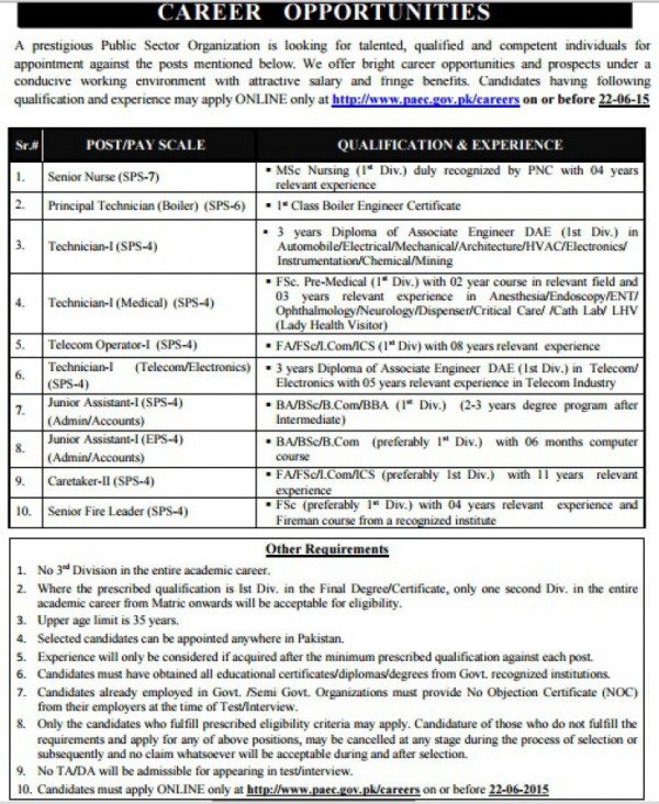 Apply Online For PAEC Jobs 2015 Application Form Atomic Energy Jobs Eligibility Criteria
