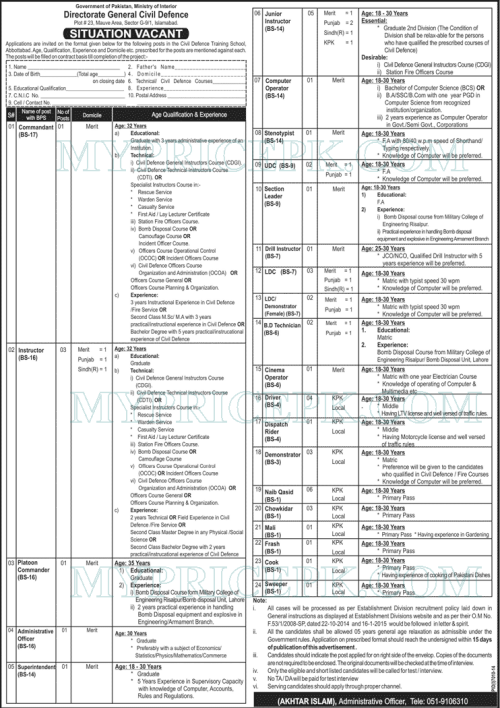 Govt of Pakistan Ministry of Interior Directorate General Civil Defence Jobs 2015 Eligibility Criteria Application Form Download
