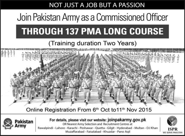 Join Pak Army As A Commissioned Officers Jobs 2015 Through 137 PMA Long Course Registration Online