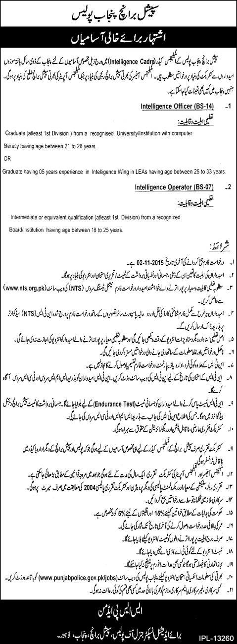 Punjab Police Special Branch Intelligence Officer Jobs 2015 Registration Form Eligibility Criteria Dates and Schedule