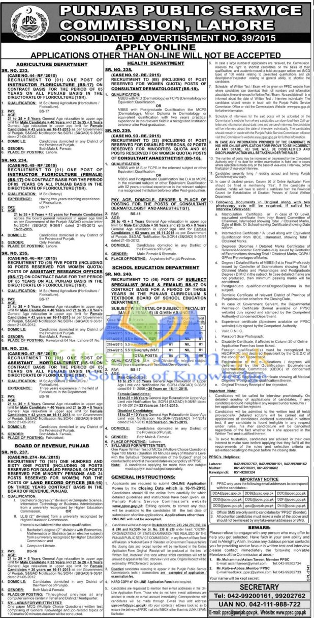 PPSC Punjab Board of Revenue Land Record Jobs 2015 Online Apply Eligibility Criteria Dates and Schedule
