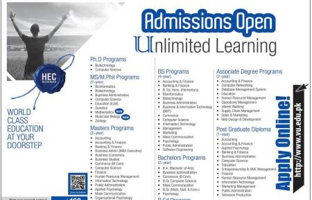 VU Virtual University Admission Spring 2019 Apply Now Online Eligibility Criteria