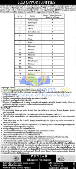 Punjab Education Foundation Jobs 2015 Form Download Dates and Schedule of Interview Test