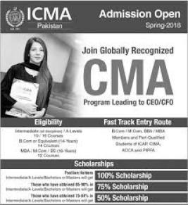 ICMA Pakistan Undergraduate Master Admission Spring 2018 Form Download Dates and Schedule