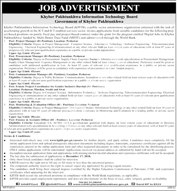 KPK IT Board Jobs 2018 Schedule to Apply Online Application Form Download