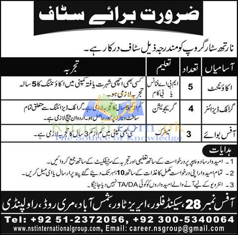 North Star Group Jobs 2015-16 Rawalpindi Accountants, Graphic Designers & Office Boys Test Dates