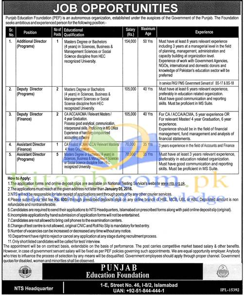 Punjab Education Foundation PEF Lahore Pakistan Jobs December 2015-2016 Date of Form Submission Eligibility Criteria