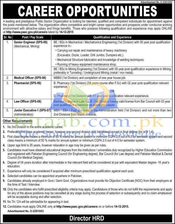 Engineering Jobs 2015-16 in Pakistan Public Sector Organization PAEC Online Apply Requirements and Eligibility