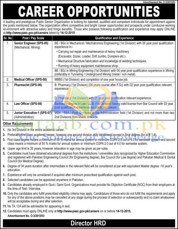 engineering jobs    pakistan public sector organization paec  apply requirements