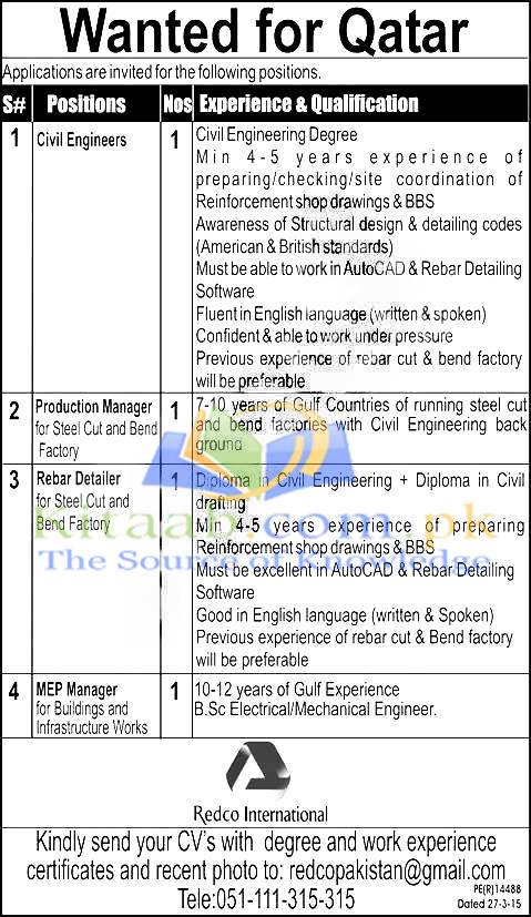 Engineer Required For Redco International Jobs 2015-16 Application Form Eligibility Criteria and Dates