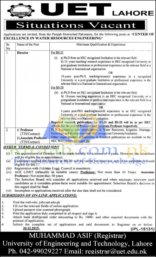 University Of Engineering and Technology UET Lahore Jobs 2015-16 Apply Online Eligibility Criteria Date