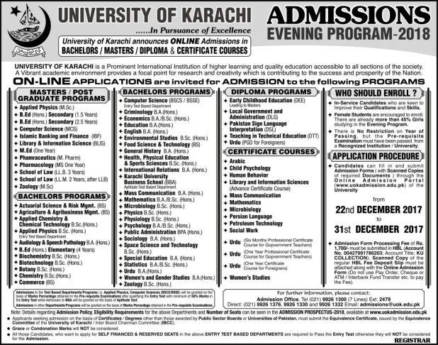 University of Karachi UOK Admission 2018 Entry Test Answer Key Result and Merit List