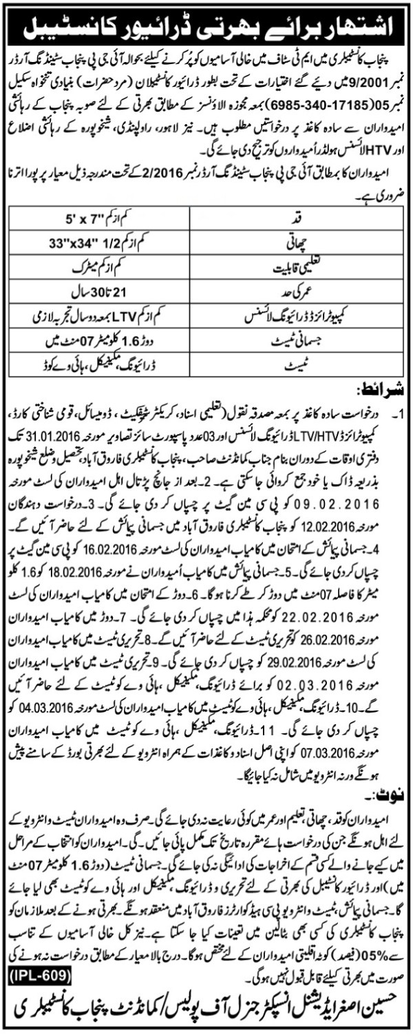 Punjab Police Constable Driver Jobs 2016 Interview Test Dates and Schedule