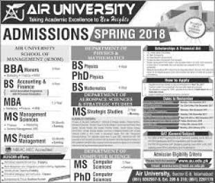 Air University Islamabad Admission 2019 Undergraduate Graduate Postgraduate Form Dates