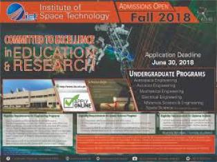 Institute of Space and Technology IST Admission Undergraduate 2018 Application Form Eligibility