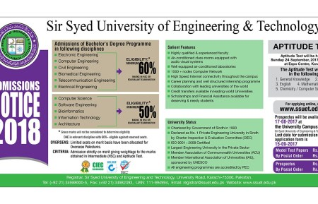 Sir Syed University of Engineering and Technology Admission 2019 Eligibility Criteria Form Download