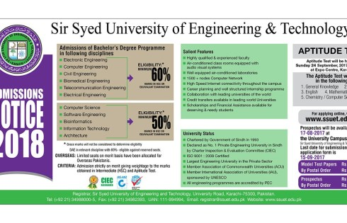 Sir Syed University of Engineering and Technology Admission 2018 Eligibility Criteria Form Download
