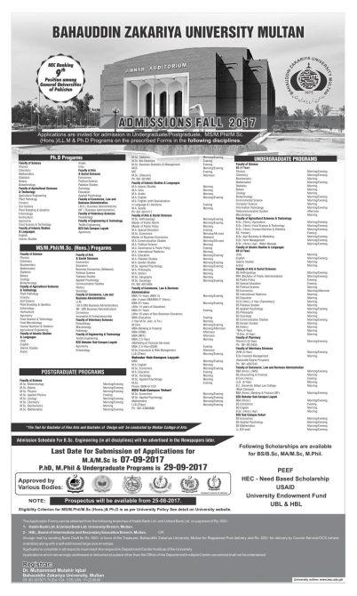 Bahauddin Zakariya University MA MSc Admission 2019 Last Date BZU Registration Schedule Notice Eligibility Criteria