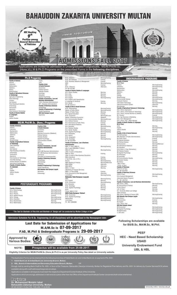 Bahauddin Zakariya University MA MSc Admission 2017 Last Date BZU Registration Schedule Notice Eligibility Criteria