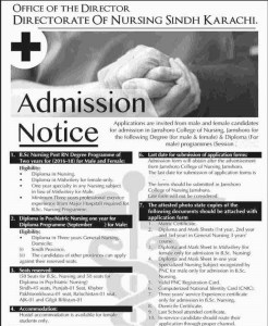 Directorate Of Nursing Sindh Karachi Nursing Courses Admission 2017 Schedule and Date of Application Form Submission Last Date