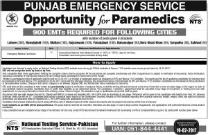 Punjab Emergency Service Rescue 1122 Jobs 2017 900 EMTs Required For Following Cities NTS Apply Online