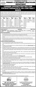 Govt Of Punjab Primary and Secondary Healthcare Department 50 Vacancies for 24 DHQ Hospitals Jobs 2017 NTS Screening Test Application Form Roll Number Slips Post of Physiotherapist