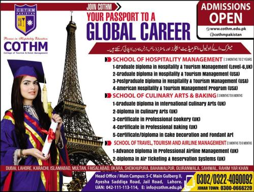 Cothm College 3 months to 2 Year Short Courses Admission 2017 Apply Online Fee Structure Eligibility Criteria