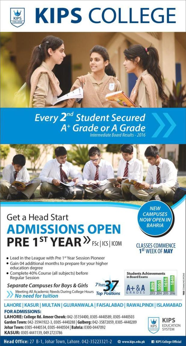 KIPS College Lahore Gujranwala Faisalabad Admission 2017 FCs FSc Pre-engineering and Pre-medical ICS Icom Application Form Fee Structure Last Date