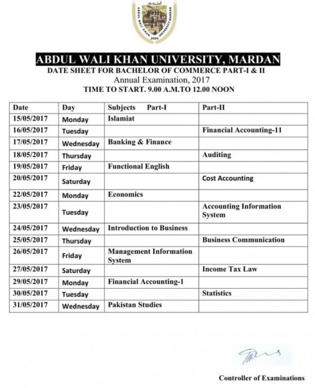 Abdul Wali Khan University Mardan Date Sheet 2017 Announced For BSc BA MSc MA BCOM MCOM AWKUM Date Sheet 2017