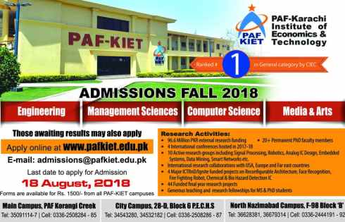 Karachi Institute of Economics and Technology PAF-KIET Karachi Admission 2018 in Electrical Mechanical Civil Application Form Procedure to Apply Engineering College in Sindh