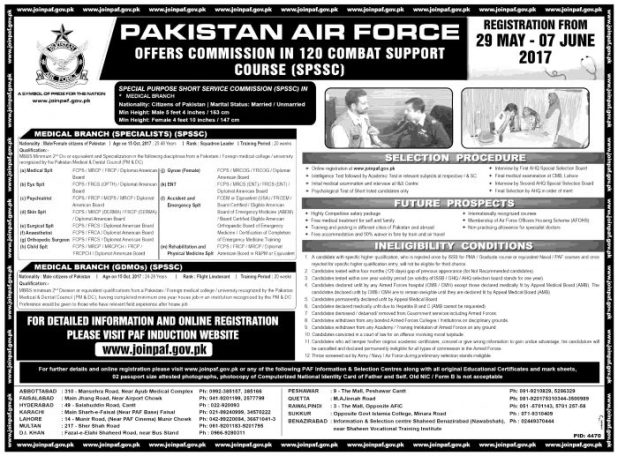 Join Pakistan Air Force 2017 Through SPSSC SSC and Permanent Commission PAF Jobs Online Registration