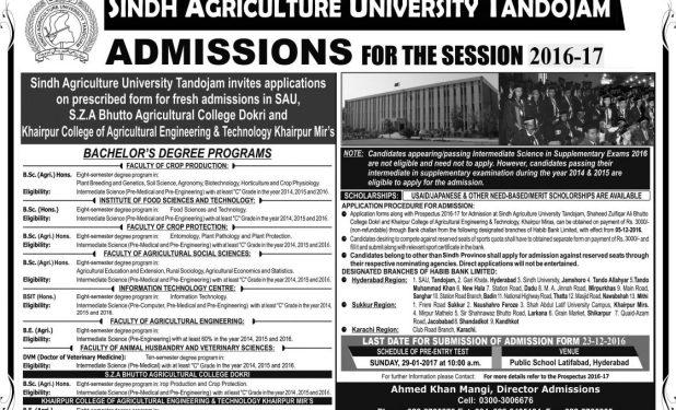 SAU Tandojam Sindh Agriculture University Entry Test Answer Key Result 2017 Merit List Calculator