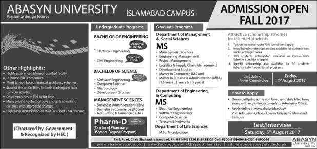 Abasyn University Islamabad Campus Admission 2017 Procedure Fee Structure Application Form