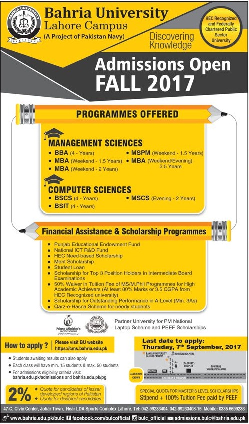 Bahria University Lahore Campus Admission Open Fall 2017 Management Sciences Computer Science Last Date To Apply