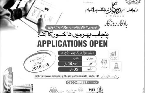 CM Punjab E Rozgar Training Program 2018 Freelancing All Districts