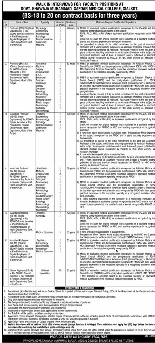 Govt. Khawaja Muhammad Safdar Medical College KMSMC Sialkot Jobs 2017 Grade 18