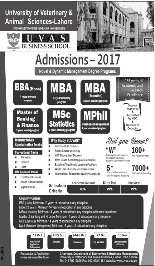 UVAS Business School Admissions 2017 BBA MBA MSC MPhil Selection Criteria Schedule