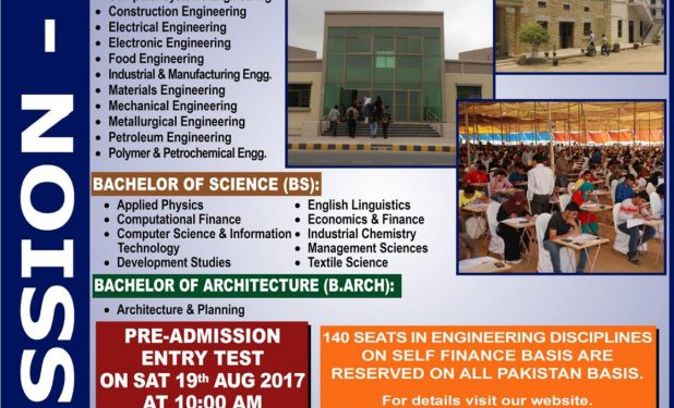 NED UET Karachi Admission Entry Test 2017 Dates & Schedule Merit List University of Engineering & Technology