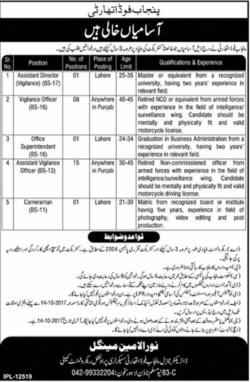 Punjab Food Authority Latest Jobs 2017 Assistant Director Vigilance