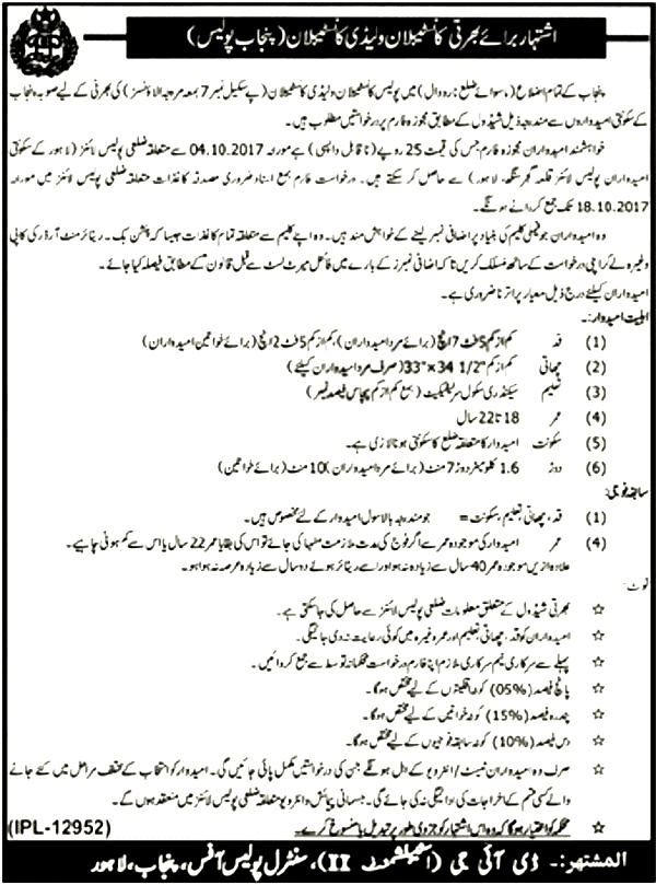 Punjab Police Male and Lady Constable Jobs 2017 Application Form