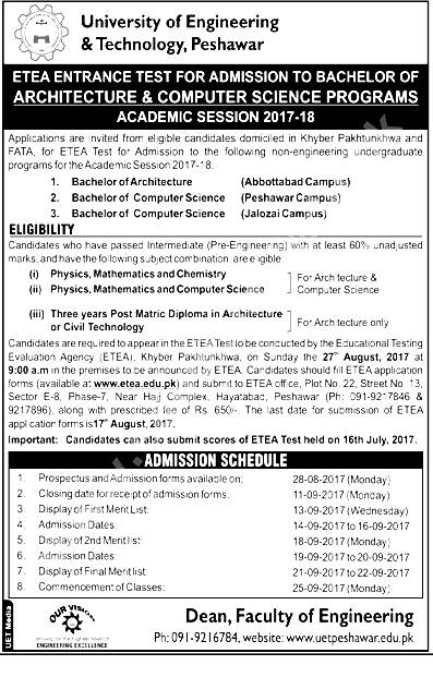 UET Entry Test for Admission in Engineering & Technology University Form Download Dates and Schedule