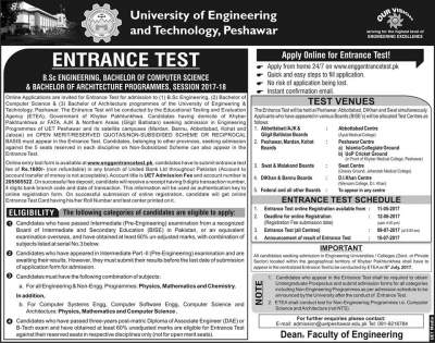 UET Peshawar Entry Test Admission 2017 Dates and Schedule Merit List Engineering and Technology