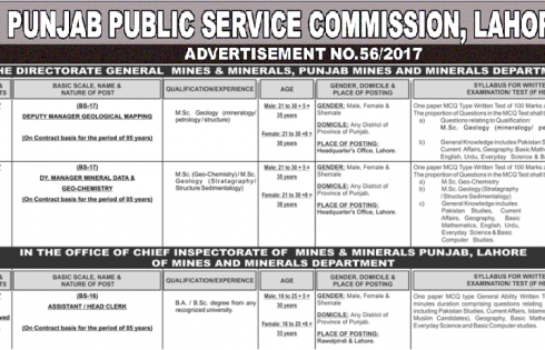 Mines And Minerals Department Punjab PPSC Jobs Apply Online
